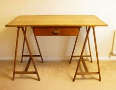 Oak Architects Table | Sawhorse Legs | Portable Plans Table | Antique Architect in Antiques, Antique Furniture, Other Antique Furniture | eBay