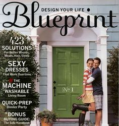 Love this blue siding and green door combo. (Glad I saved all my Blueprint mags. Exterior Paint Colors For House, Paint Colors For Home, Exterior Colors, Gray Exterior, Exterior Homes, Paint Colours, Green Front Doors, Front Door Colors, Burning Questions
