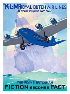 - KLM Royal Dutch Airlines - The Flying Dutchman - Fiction becomes Fact - Giclee Art Print & Poster Aviation Blog, Aviation Art, Flying Dutchman, Steam Boats, Vintage Travel Posters, Vintage Airline, Great Vacations, Library Of Congress, Custom Posters