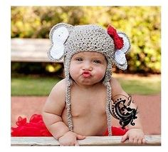 Crochet Elephant Hat with Earflaps and Alabama Red Crochet Bow - Newborn, Baby, Toddler Sizes - Great Photo Prop--- baby girl holloman would look AWESOME! Elephant Hat, Crochet Elephant, Alabama Elephant, Cartoon Elephant, Crochet Bows, Knit Crochet, Crochet Outfits, Crochet Beanie, Crochet Costumes
