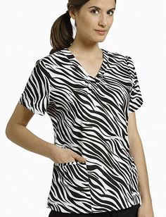 Zebra print scrub top, by White Cross.