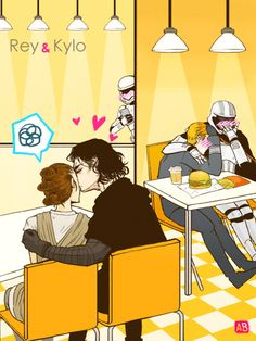 "arbutus-blossoms: "" "" Rey ( ˘ ³˘) ♥ "" ""I like drawing Kylo as a dork and Rey probably kick his ass afterwards // Based from that Kissing Meme [x] // Please do not repost nor remove captions "" """