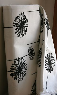 White/Black Dandelion Home Decor Weight Fabric from Premier Prints - ONE YARD. $11.50, via Etsy.