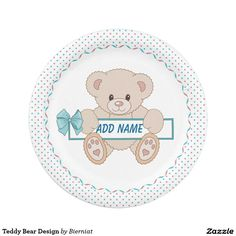 Teddy Bear Design Paper Plate