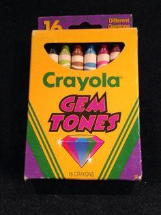 Crayola Gem Tones Crayons Unused Box  of 16 Discontinued 1990's Barely Used! #Crayola