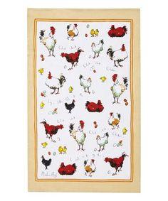 Loving this Chick Chick Chicken Linen Tea Towel on #zulily! #zulilyfinds