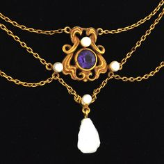 Alluring Art Nouveau 14k Amethyst and Pearl Lady's Festoon Necklace.  Original antique jewelry, made circa 1885-1910.