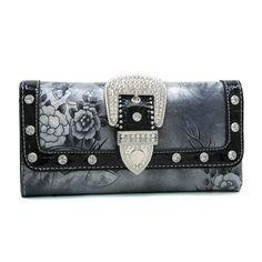 Dasein Western Rhinestone floral buckle wallet checkbook - Black Dasein Wallets. $19.99 Cute Wallets, Rhinestone, Women Accessories, Gifts For Her, Valentines, Shoulder Bag, Floral, Bags, Clothing