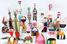 Girard created these sculptural figures for his Santa Fe home in 1963. They're part decorative object and part toy and exhibit a folk-art influence from Central America as well as Eastern Europe and Italy.