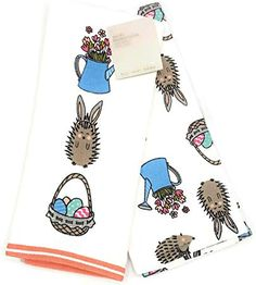 TT /& Lola Springtime Birds Bunnies /& Flowers Pink Kitchen Towel Set