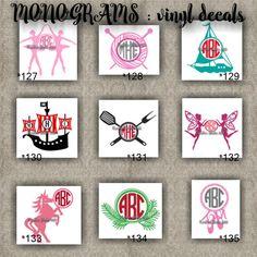 MONOGRAM vinyl decals | name | initial | decal | sticker | car decals | car stickers | laptop sticker - 127-135