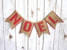 Noel Burlap Banner / Christmas Decoration / Sign by WootandWooks