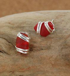 Sadie Green's Red Sea Glass Post Earring