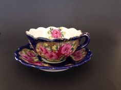 Antique Hand Painted Flow Blue Tea Cup And Saucer