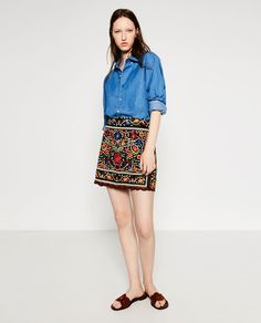 FLORAL EMBROIDERED SKIRT from Zara