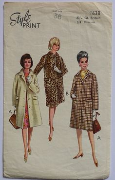 Vintage sewing pattern. Style 1638. Coat by IsellVintagePatterns