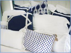 Lacefield Designs navy and white pillows. Photo courtesy Airlie Moon - Wilmington, NC