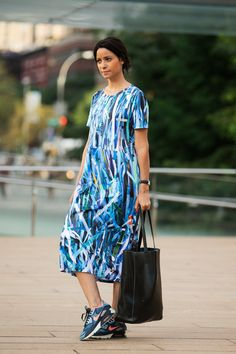 The NYFW Street Style Looks That Truly Stunned #refinery29  http://www.refinery29.com/2014/09/73987/new-york-fashion-week-2014-street-style-photos#slide45  A shift dress and sneakers on Nina Sanchez.