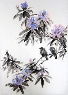Ella Saridi -  Japanese Ink Painting Rice Paper Sumie Suibokuga by Suibokuga