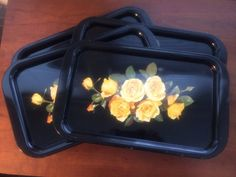 Black Metal Trays with Yellow Roses Set of by LottieDottieVintage