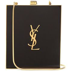 Saint Laurent Tuxedo box clutch (€2.155) ❤ liked on Polyvore featuring bags, handbags, clutches, embellished handbags, evening purses, strap purse, special occasion handbags and yves saint laurent handbags