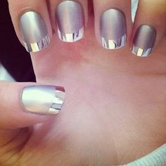 Check out this contemporary twist on a classic french manicure. The metallic and matte combo from blogger Style Haul make this so 21st century. #nails #nailsoftheday
