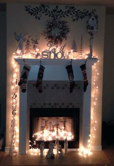 Fireplace Pillar Candles - great decoration for our non-working ...