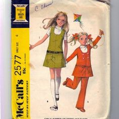Girls 1970 Jumper Dress Pants Pattern McCalls 2577  Size 10