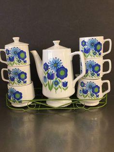Vintage Coffee Set Mod Flower Power Style Japan  Pot 4 Mugs