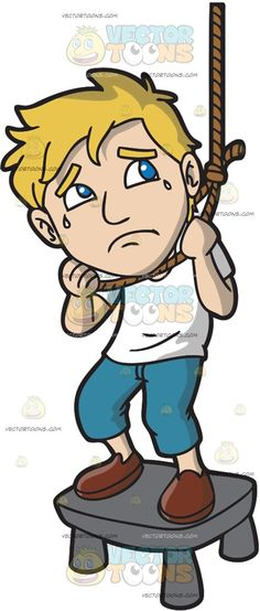 A Man About To Hang Himself To Death :  A man with blonde hair wearing a white shirt cropped blue jeans and brown shoes frowns while crying as he stands on a gray stool with a rope around his neck  The post A Man About To Hang Himself To Death appeared first on VectorToons.com.