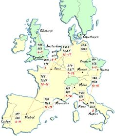 Europe Map - Distances Between Cities in Western Europe - Europe for Visitors