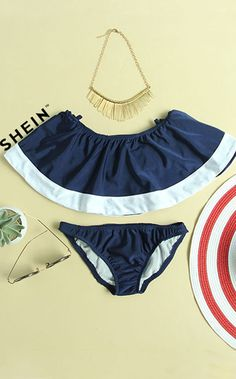 Off-The-Shoulder Flounce Bikini Set - Navy