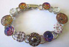 Antique button bracelet, 1800s PURPLE calico buttons
