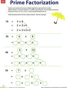 from education com prime factorization worksheets prime factorization ...