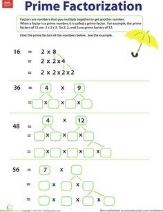 Prime Factorization Trees Factors Worksheets | HSH - Math ...