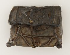 Man's Purse, 14th century Costume/clothing accessory/purse, Stitched and embossed leather, 5 x 6 x 2 1/2 in. (12.7 x 15.2 x 6.3 cm)