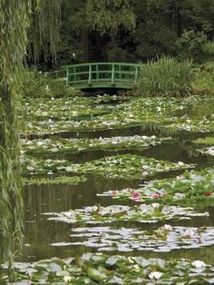 Nov 2019 - Photographic Print: Japanese Bridge and Lily Pond in the Garden of the Impressionist Painter Claude Monet, Eure, France by David Hughes : Spring Aesthetic, Nature Aesthetic, Aesthetic Green, Aesthetic Japan, Claude Monet, Cottage In The Woods, Lily Pond, Pretty Pictures, Green Pictures
