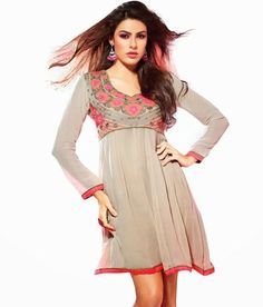 Cream #Georgette With Santoon Lining #Kurti Check out now for more collection:- http://www.womenindianwear.com/kurties.html
