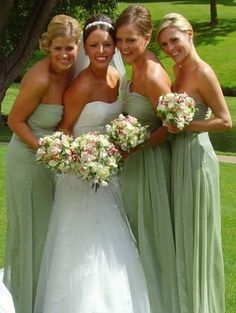 Green and pink wedding colors... Like the bridesmaid dresses kinda