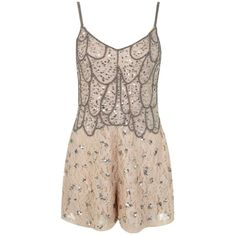 Miss Selfridge Nude Embellished Playsuit ($53) ❤ liked on Polyvore featuring jumpsuits, rompers, nude, embellished jumpsuit, embellished cami, strappy cami, romper jumpsuit and jump suit