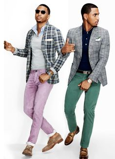 Mens colored denim. Love the plaid jackets such a stylish touch.