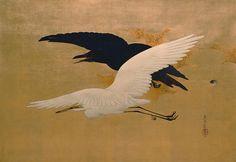 """White Heron and Raven Flying"" (ca. 1880) | San Antonio Museum of Art • Zeshin Shibata. Taisho Era; hanging scroll, colored lacquer painting (urushi-e); medium: white pigment on gold leaf on paper; dimensions: 91.9 X 60.6 cm."