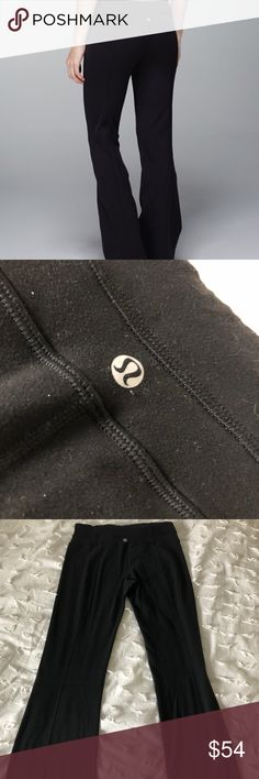 Lululemon Flare Groove Bootcut Yoga Pants Black Lululemon flare groove bootcut yoga pants in black. The fit is true to size and fits identical to what is shown in stock photo, these are in excellent pre-owned condition. No rips, stains, pilling, or defects, they just need to be gone over with a lint roller which will be done upon shipping! These are a size 6 but do not have the inside tag (as shown in photos). Please let me know if you have any addition questions!✨ lululemon athletica Pants…