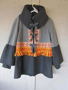 upcycled jacket gray winter coat fall fashion Boho Bohemian clothing X L overcoat reclaimed recycled Gypsy Lagenlook LillieNoraDryGoods Great for fall and winter, comfy, casual light weight winter coat - restyled wool blend lined jacket/car coat zipper removed, ribbing cuffs,