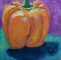 """Art by Prerana Kulkarni - Day 12: """"Orange Bell Pepper"""", 6 x 6 inches, Oil on Canvas Panel Available here: www.etsy.com/... Happy New Year Everyone!"""