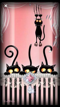 Sallys Wallpaper… By Artist Unknown… Sallys Wallpaper … Von Artist Unknown … I Love Cats, Crazy Cats, Cool Cats, Cat Wallpaper, Wallpaper Backgrounds, Geometric Wallpaper, Wallpaper Ideas, Photo Images, Curious Cat