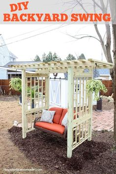 DIY BACKYARD SWING | Add beauty and function with this easy to build swing frame. #ad