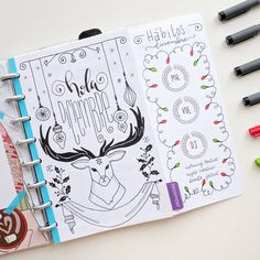 """Nicole on Instagram: """"December planning #1: Cover page and Habits tracker. This is the cover page I drew for the month of December. You can see the process in my previous post and check out the rest of the spread on my Youtbe channel and blog. The cover page is my entry for the #staedtlerchristmas competition. I'm also using my habits tracker stickers from my Etsy shop. I was thinking about making the cover a coloring page. Would you like to color it? ❄ #bujo #bulletjournal #bulletjournaling…"""