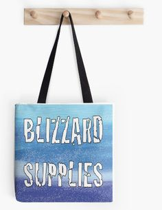 "Tote Bag Blizzard Supplies prep for snow 16"" x 16"" Bag by ArtByAnneManera on Etsy"