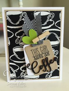 Handmade coffee card by Susan Liles featuring the Coffee stamp set from Verve. #vervestamps